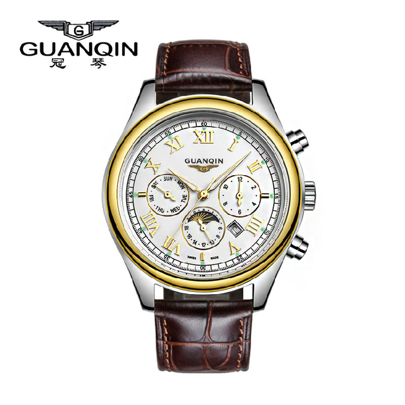 guanqin casual quartz leather mens watches top