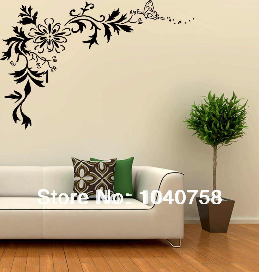 Art monk picture more detailed picture about large black wall sticker flower floral tribal - Home decor picture ...