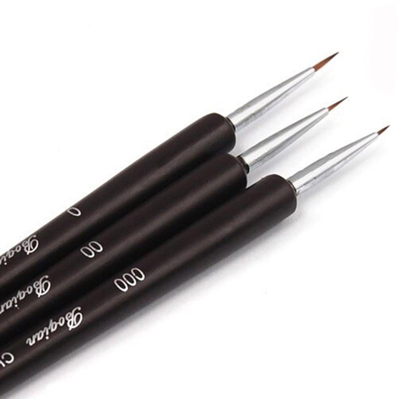 2017 New 3 PCS Acrylic Nail Brush Nail Art Tool Nail Liner Brush Black Painting Brushes Dotting Pen Polish Brushes Nail Pen Y171