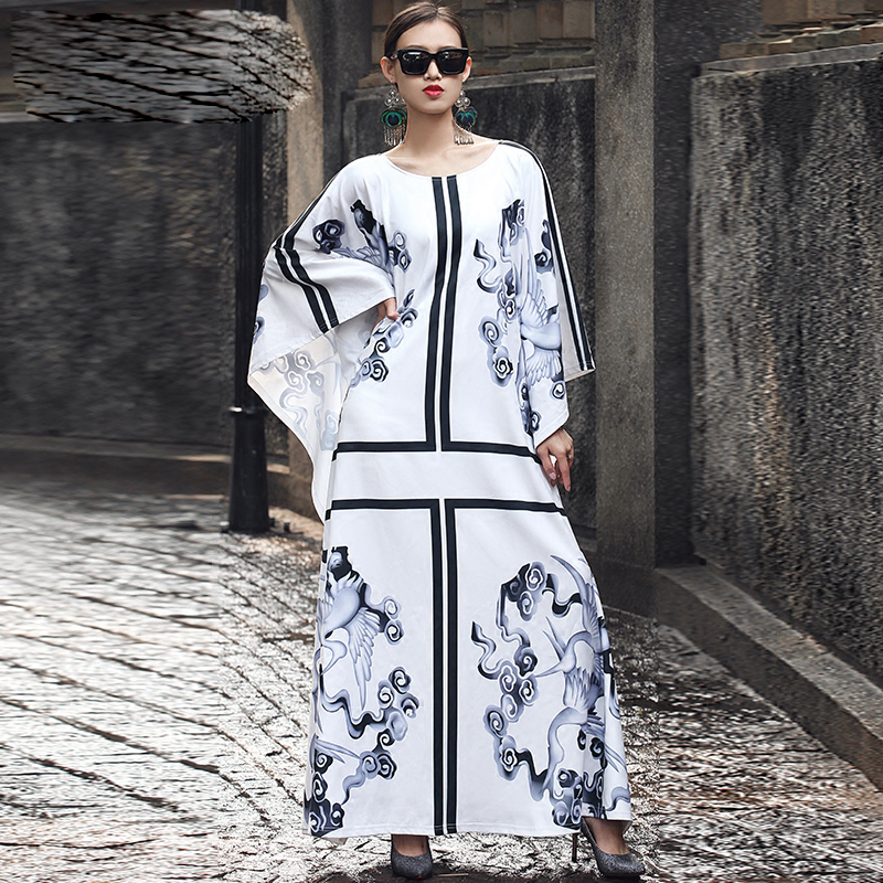 HIGH QUALITY New Fashion 2016 Runway Maxi Dress Women's Batwing Sleeve Crane Printed Plus size Loose Long Dress