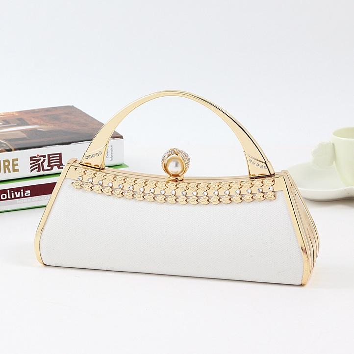 White U Shape Wedding Bag Metal Pearl Diamond Glitter Lady Clutch Women Handbag Bridal Party Bags(China (Mainland))