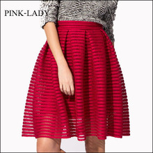 Summer Skirt Women Ladies Elegant High Waist Knee Length Hollow Mesh Striped Ball Gown Skirts Fashion Prom Midi Skirts