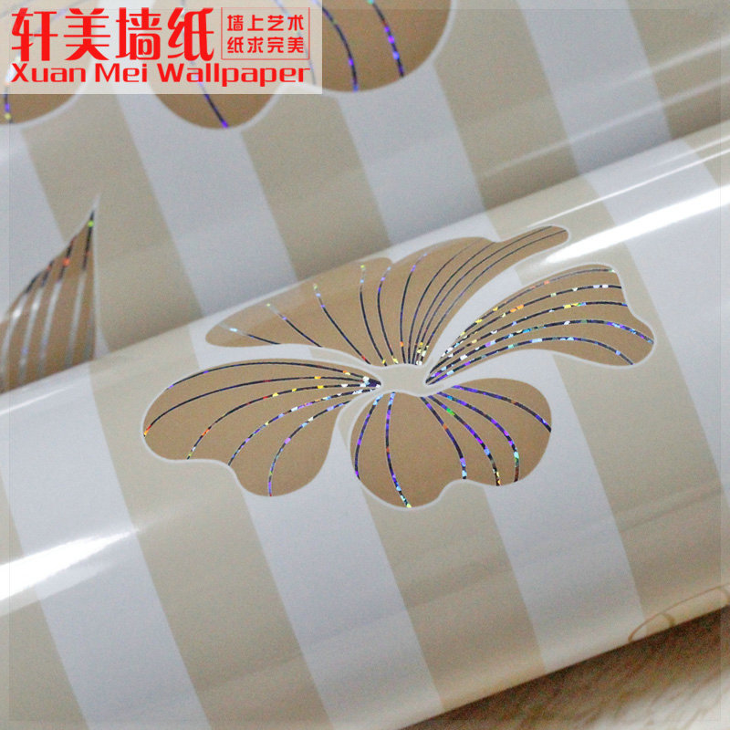 Eco-friendly wallpaper pearlizing thickening waterproof pvc paint furniture kitchen cabinet stripe 96CMX5M 3d board wall(China (Mainland))