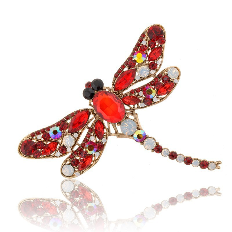 KLL17-4 Colorful Dragonfly Brooch 8 Colors Crystal Animal Jewelry Rhinestone Brooch Pins Fashion Jewelry 2015 Brooches For Women(China (Mainland))