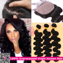7A Peruvian Virgin Hair With Silk Closure Pervian Virgin Hair Body Wave Silk Base closure and bundles,3 Bundles With Closure(China (Mainland))