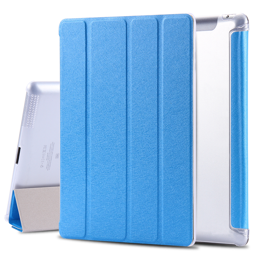 Luxury Smart Silk Leather Stand Cover For Apple iPad 4/3/2 Sleep Awake Full Protective Crystal Slim Flip Tablet Case Shell Capa