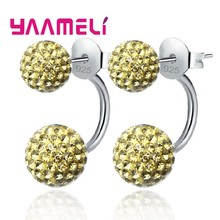 11 Colors Options!! Full Austrian CZ Crystal Paved Stud Earrings for Women 925 Sterling Silver Two Disco Balls Brincos Jewelry(China)