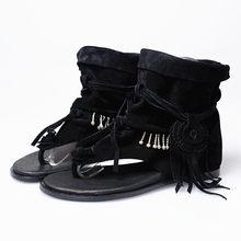 Prova Perfetto Böhmen Sommer Frauen Sandale Ethnischen Stil Quasten Damen Stiefeletten Sandale Schuh Rom Tanga Gladiator Flache Sandalen(China)