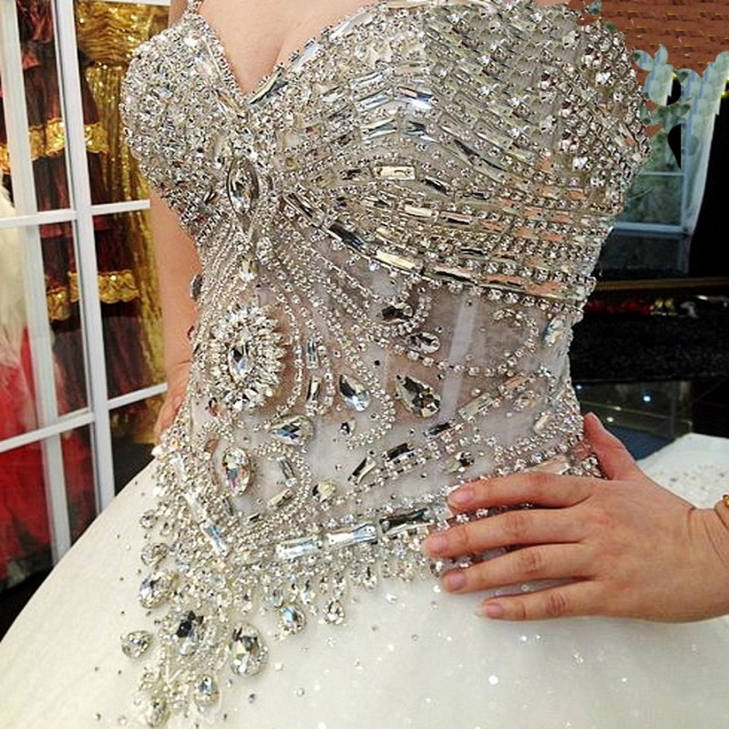New arrival ball gown crystals organza bling bling for Strapless wedding dresses with bling