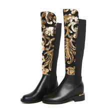 Morazora Size 34-42 Hot 2019 Chính Hãng Giày Da Nữ Thu Đông Giày Bling Thời Trang Co Giãn Đầu Gối Giày Cao giày Lười Nữ(China)