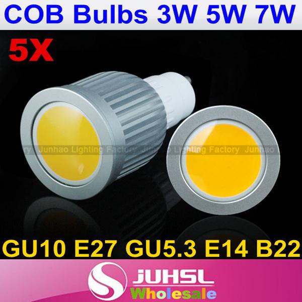 High Quality,3W 5W 7W LED COB Spot Light Bulbs lamp High power Rotundity Epistar Light Bulb Lamp AC85V-265V,Freeshipping,Ceiling(China (Mainland))