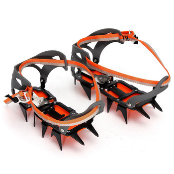 New 1pair Anti-slip 12-teeth Crampons Ice Snow Hiking Climbing Shoe Cleats Cover Grippers