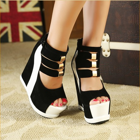 Sexy Club Super waterproof bottom fish mouth thick high-heeled wedge heel sandals in summer new leather shoes<br><br>Aliexpress