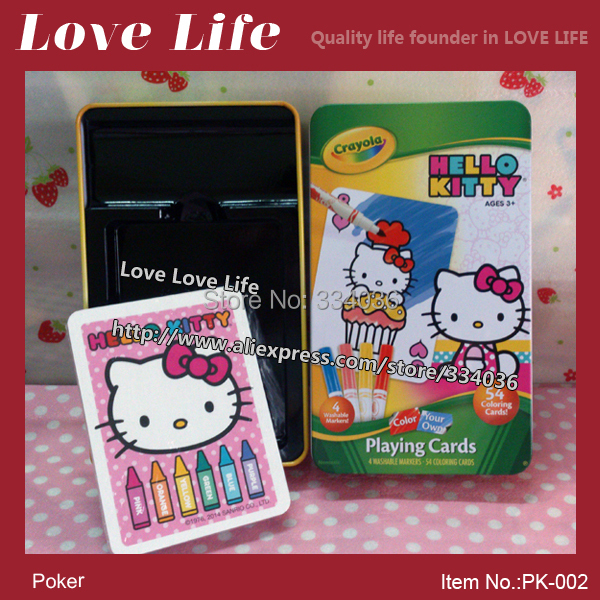 Free shipping!Fun game Hello Kitty paper poker cards 54pcs can painting playing cards WITH BOX PK-002(China (Mainland))