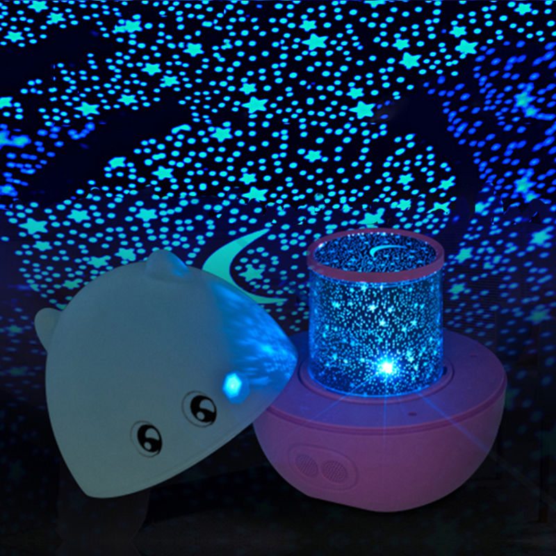 Blue/Pink/Rose Mini Pig Shape Rotating Sky Star LED Projector Night Light with Speaker remote control(China (Mainland))