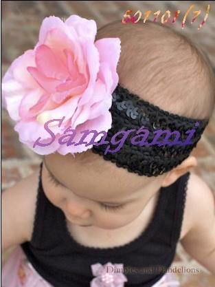 Wholesale - Crochet head band bow clip flower Crochet girls Hair bands hairpins baby hair--DYQ703A