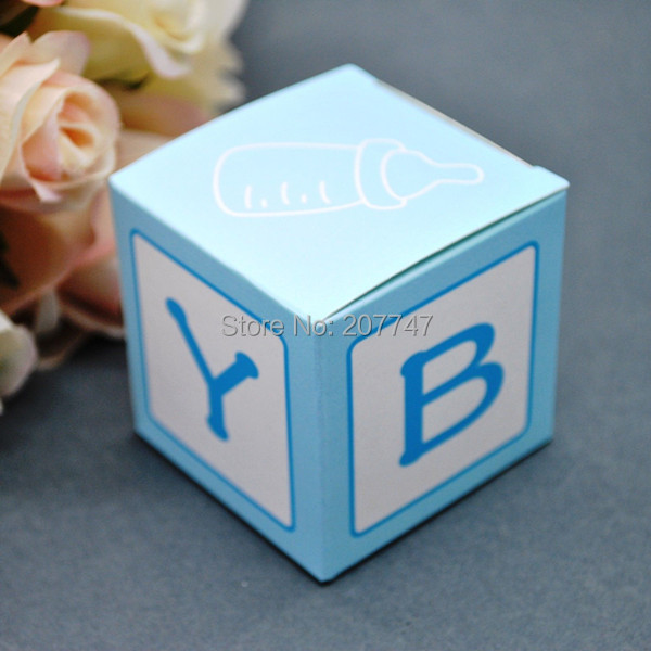 Favour Boxes Baby Blue : Pcs lot baby blue favor boxes shower candy gift