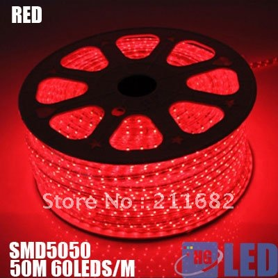 DHL FEDEX free shipping RED 5050 LED strip 220V high voltage RED 5050 Tube type Waterproof flexible led strip 60leds/M 50m/lots(China (Mainland))