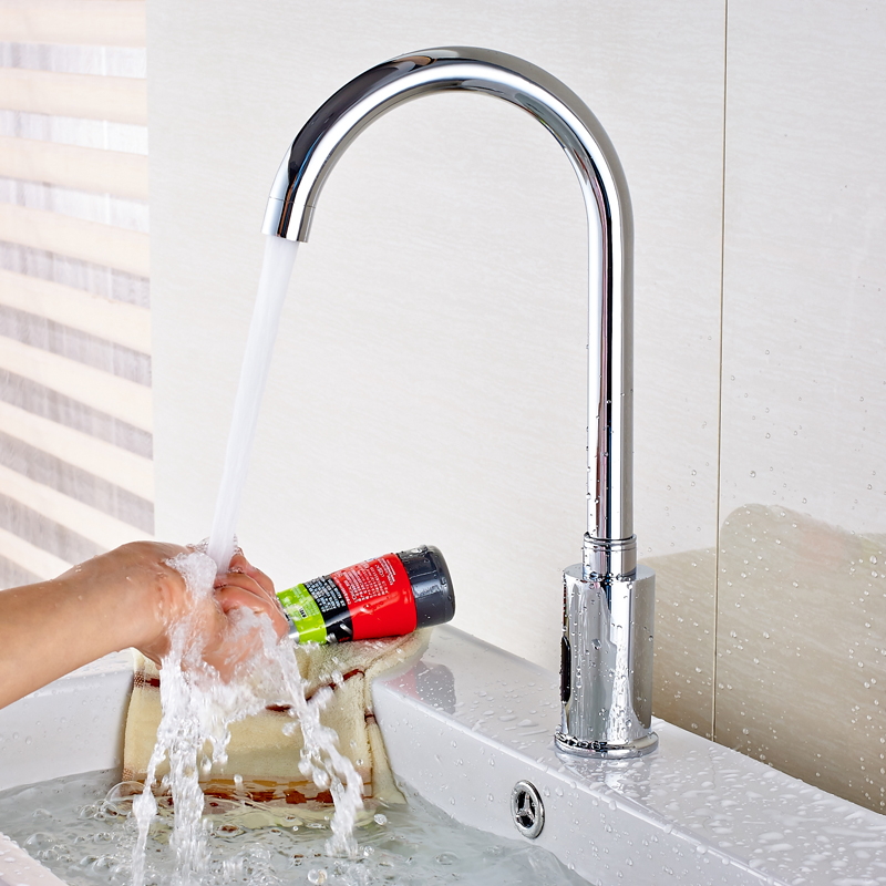 New Chrome Brass Bathroom Sink Faucet Automatic Sensor Vessel Tap For Cold Water In Basin