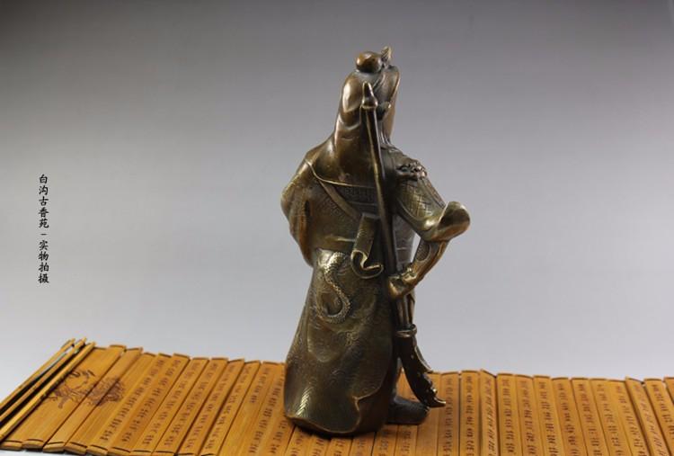 Buy Chinese Guan Gong Wu Fortuna copper ornaments gift knife Guan Lucky Feng Shui home antique metal crafts free shipping cheap