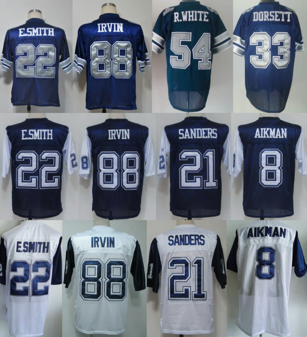 22 Emmitt Smith Throwback Jersey 88 Michael Irvin 8 Troy Aikman 21 Sanders 33 Tony Dorsett 54 Randy White Retro Football Jerseys(China (Mainland))