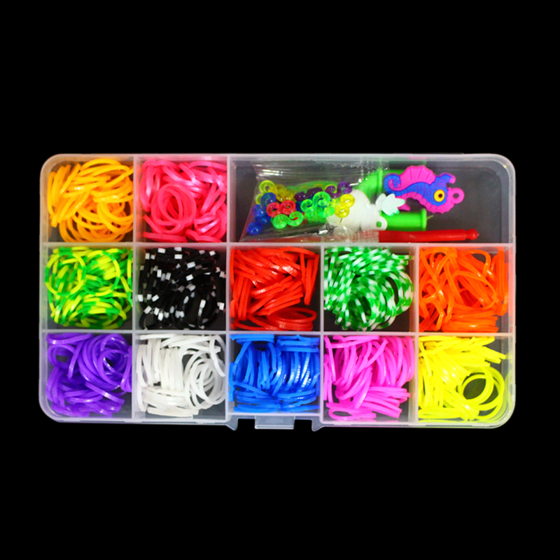 60 Clasps/Beads/Charms/ Hook Small Box DIY Loom Bands Kit Refills Kid Make Silicone Rubber Bracelets H10 - I Case store