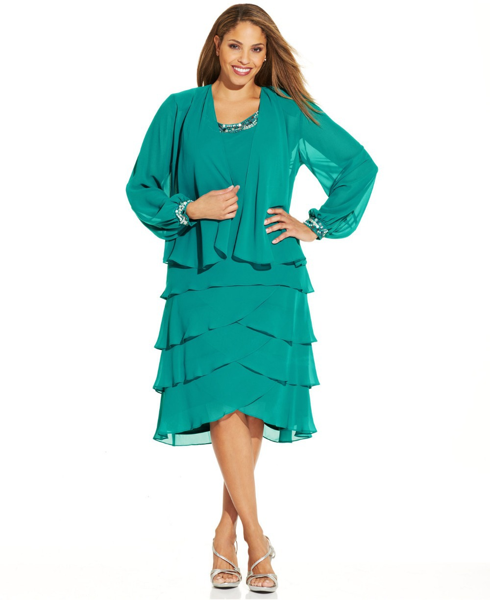 Chiffon Dresses With Jackets Plus Size 105
