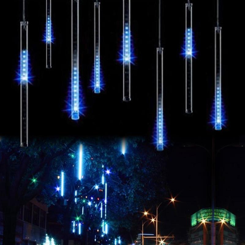 EU plug  8 tubes Rain Drop/Icicle Snow Fall String LED Christmas tree decoration Cascading Meteor Light Decoration<br><br>Aliexpress
