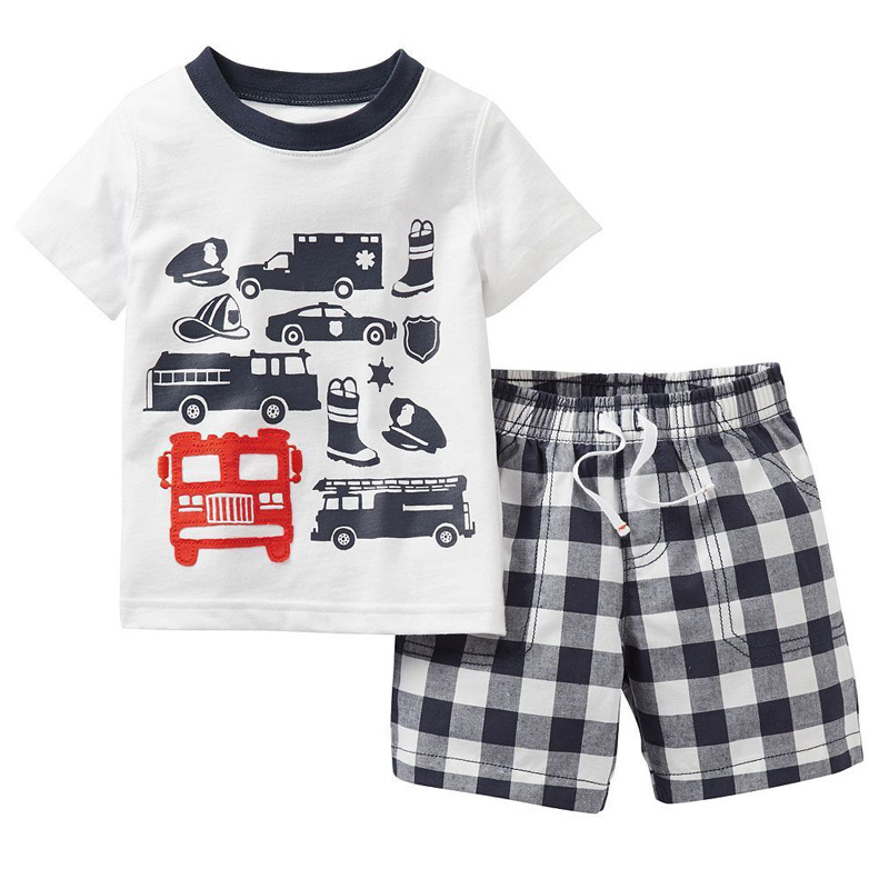 2016 Summer Fashion Children Boys Clothes Set Cartoon T-shirt Tops + Plaid Short Pants Suit Kids Tracksuit Outfits Baby Pajamas