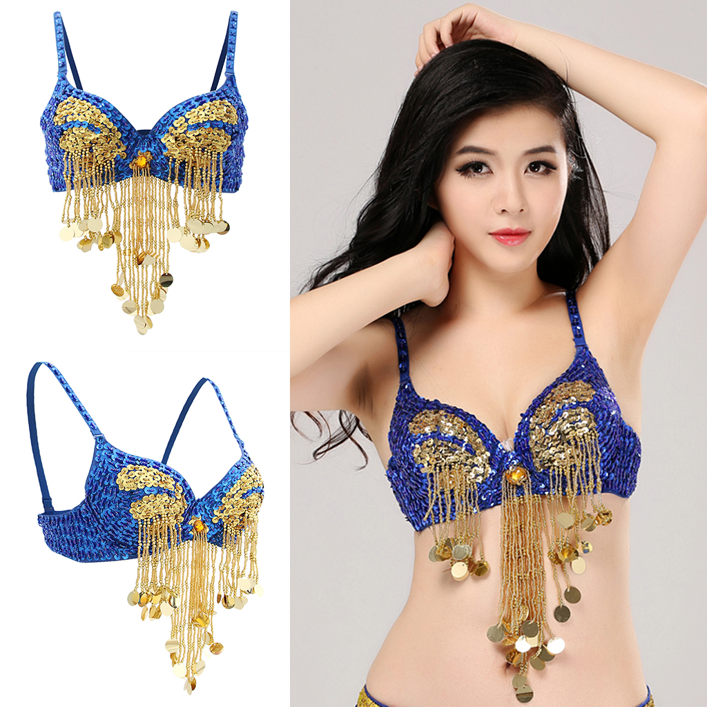 Womens Sparkling Sequins Tassels Bra Top Raves Belly Dance Holiday Indian Dancer Costume Club Wear