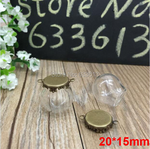 Free ship 100sets/lot bronze color 20*15mm glass globe &amp; crown base with 2 ring glass globes set glass vial pendant glass cover<br><br>Aliexpress
