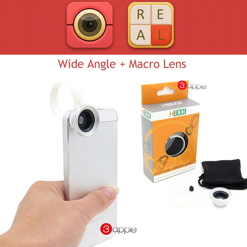 Universal Wide Angle + Macro Lens 2 in 1 Appareil Photo Mobile Phone Lens lente para celular For iPhone 4s 5s 6 Samsung S5 S4 S3