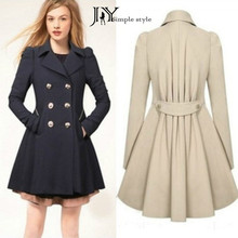 JY 2016 yards in length the spring and autumn double breasted windbreaker jacket slim female commuter style M