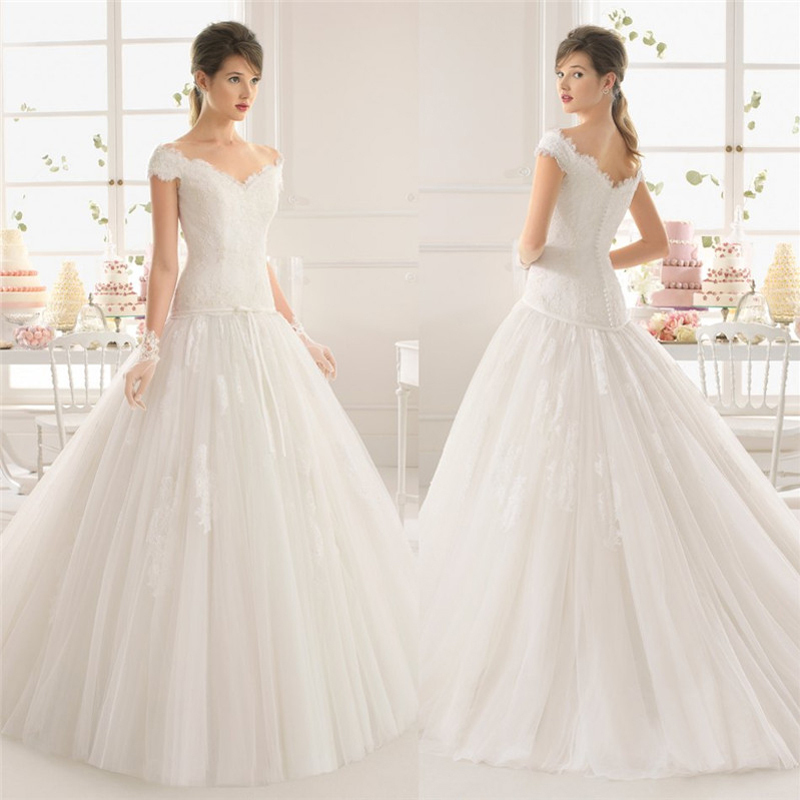 Vestidos De Noiva Real 2015 Long Beads Shoulder Elegant Wedding Dresses Gowns Appliques Tulle V-neck Ball Gown - Luxuries -Wedding dress store