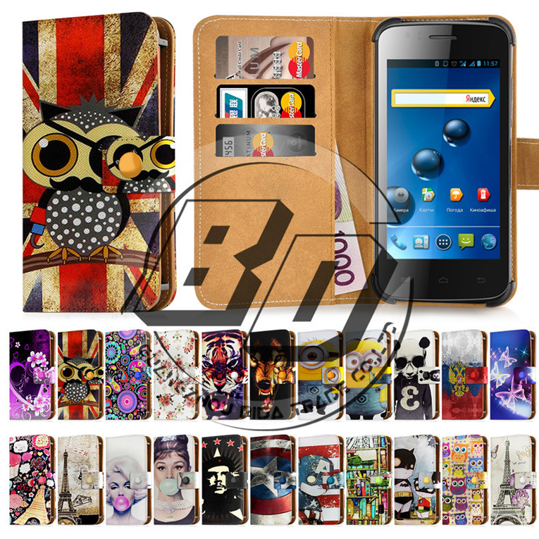 """New Arrival Explay Atom 4.0""""Cartoon/Scenery/Animal Print Universal Wallet Card Holder Stand Leather Case Cover For Explay Atom(China (Mainland))"""