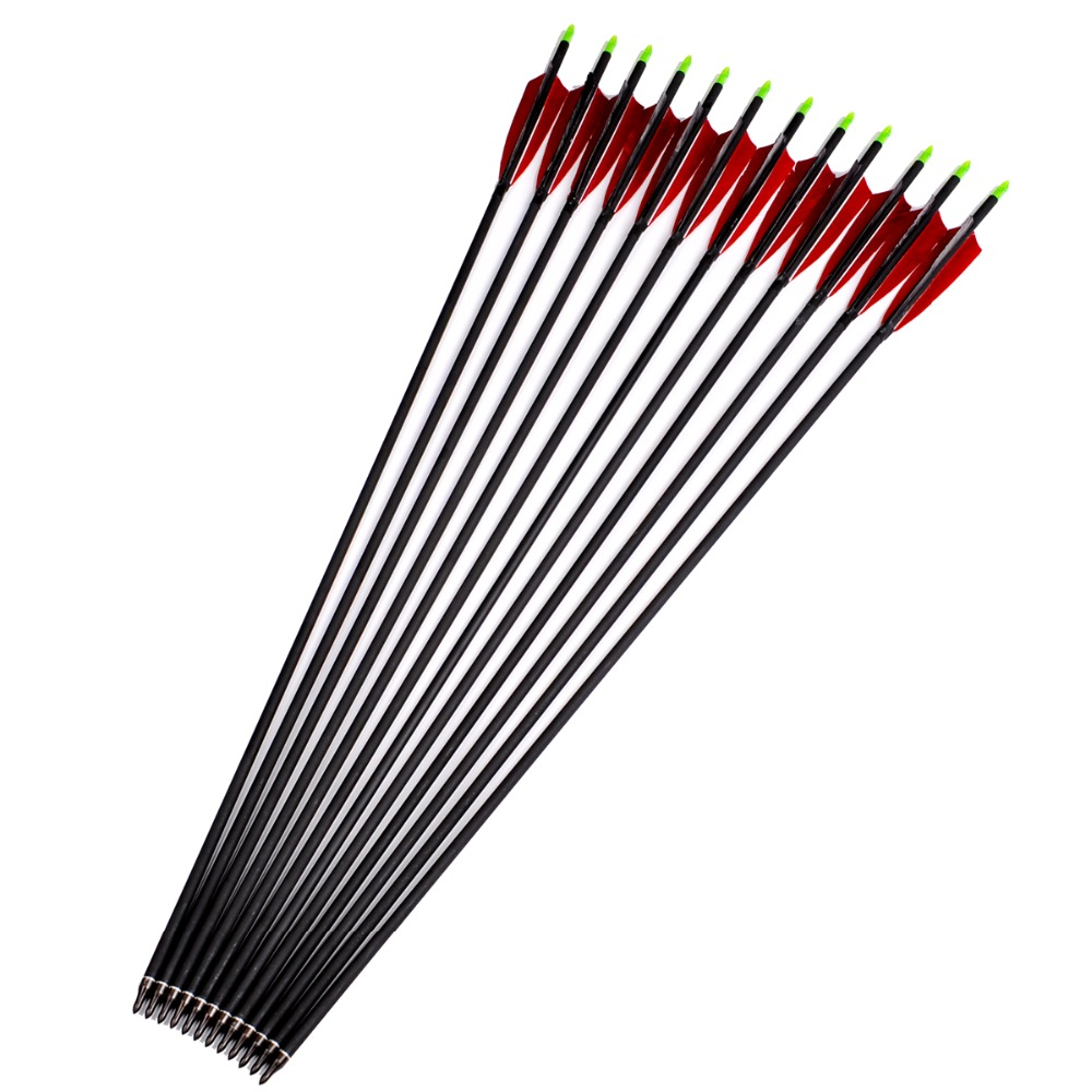 12pcs lot Archery Hunting Mixed Carbon Arrows with Red Black Turkey Feather Replaceable Arrowhead Spine 500