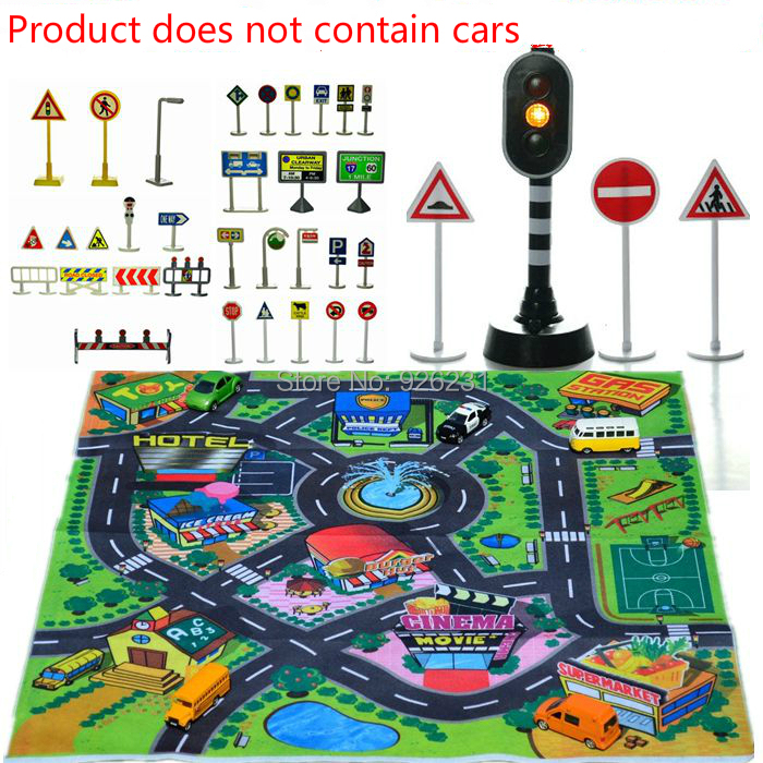 Free shipping Children's toy car park traffic lights luminous scene lights toys road signs traffic signs with map(China (Mainland))