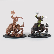 25cm Popular Online Games Garage Kits WOW ORC Raider Action Figure Two Style of Wolf Rider Model Gold Multicolor Riding Wolf