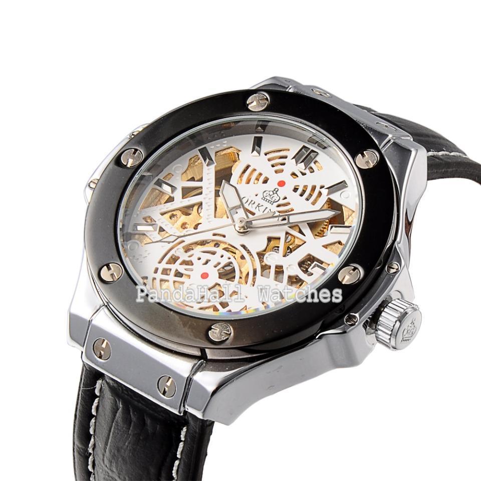 Мужской скелет механические наручные часы люксовый бренд ORKINA черный кожаный бизнес часы для мужчин