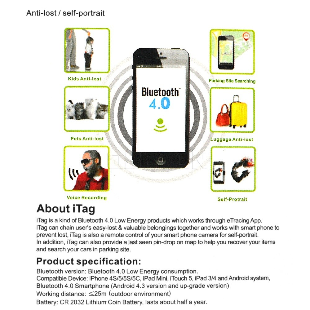 image for ITag Wireless Smart Bluetooth 4.0 Anti Lost Alarm Bluetooth Tracker Ke