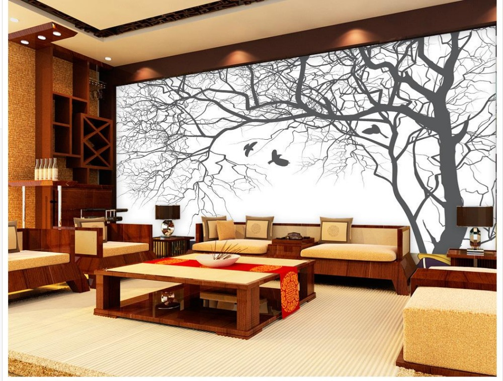 Living room tv backdrop bedroom 3d photo wallpaper for Black and white tree wallpaper mural