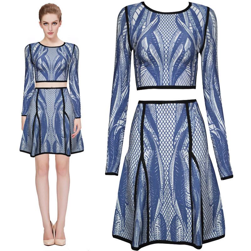 Fashion 2 piece set blue print bandage dress women long sleeve elegant high rise empire fit and flare celebrity patchwork HL354Одежда и ак�е��уары<br><br><br>Aliexpress