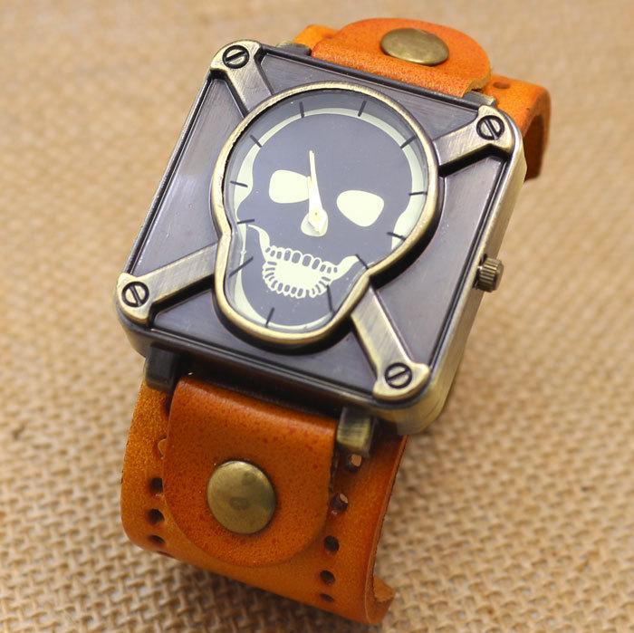Retro Genuine Leather Vintage Skull Skeleton Bracelet Wrist Watch Punk Men Boy