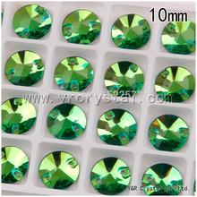 Rivoli перидот цвет 10 мм пришить стразы алмаз плоская поверхность стекло стразовая