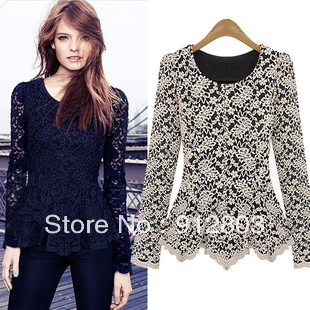 [ANYTIME]Wholesale & Retail - 2014 Women's Spring Fashion High Quality Shirt Lace Thick Long-sleeve t Shirts - Free Shipping