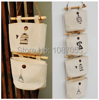 Cotton Linen cloth sundry Door\Wall hanging Storage bags hanging bag Organizer Mix style free shipping(China (Mainland))