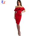 Womens Off Shoulder Bardot Midi Dress Cotton Solid Slash Neck Ruffle Bodycon Dress 2016 Summer Autum