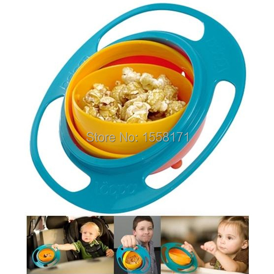 2015 New Design Baby feeding bowl /360 Degree rotating Flexible/ Child Training bowl rotating bowl / UFO bowl gyro baby food(China (Mainland))