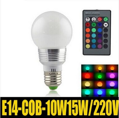 RGB E14 15W/10W AC220V LED Bulb Lamp with Remote Control Multiple Colour LED Lighting Free Shipping ZM00387/ZM00388(China (Mainland))