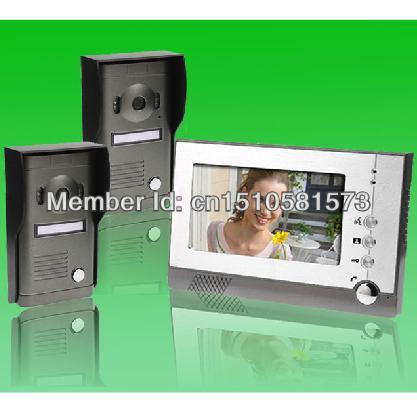 "Free shipping 7"" TFT-LCD wired color rainproof video camera monitor 2V1 intercom system between indoor monitors(China (Mainland))"